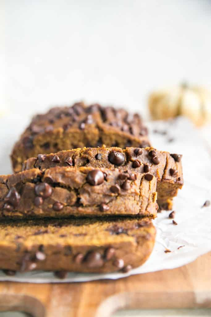 load of pumpkin bread with chocolate chips cut into slices