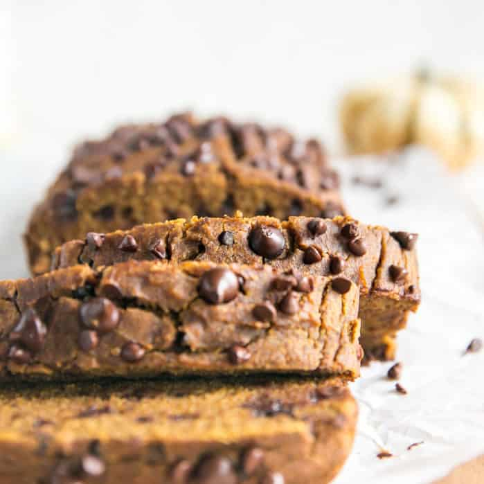 sliced pumpkin bread with chocolate chips