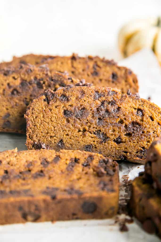 pumpkin bread with chocolate chips cut into slices