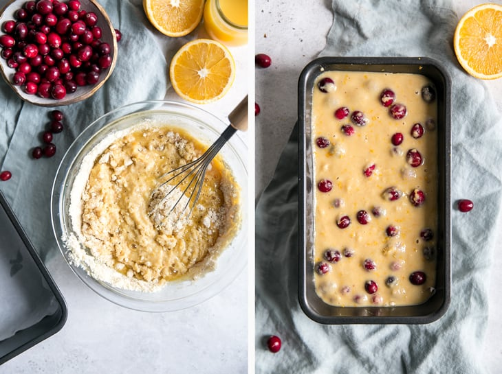 two pictures of mankind bread batter with fresh cranberries and orang slake in a clear glass bowl