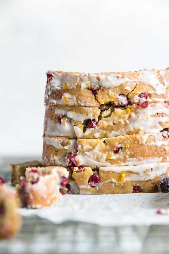 stacked almond flour cranberry orange bread