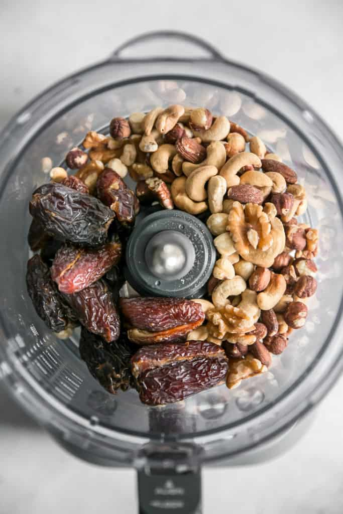 dates and nuts in a food processor