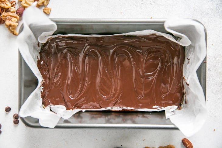 chocolate bars in a loaf pan