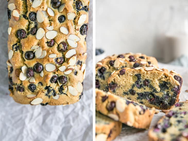 baked blueberry muffin bread on parchment paper