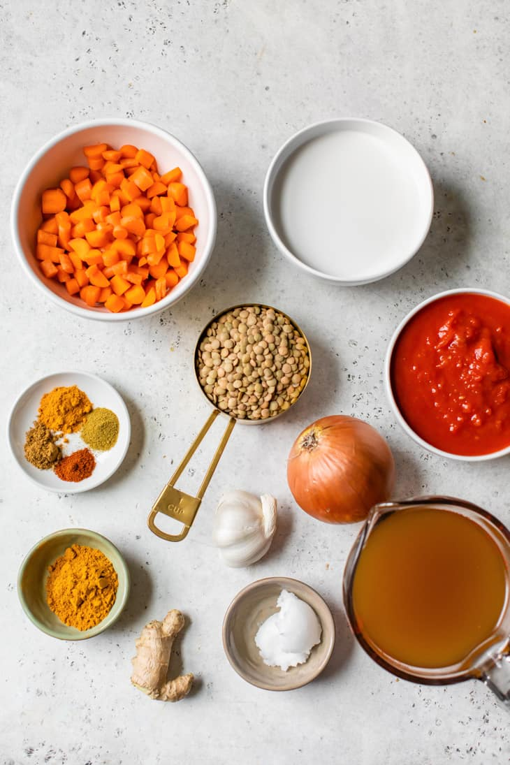 ingredients in bowls for indian lentil curry