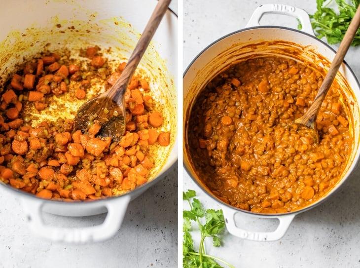 pot of lentil and carrots