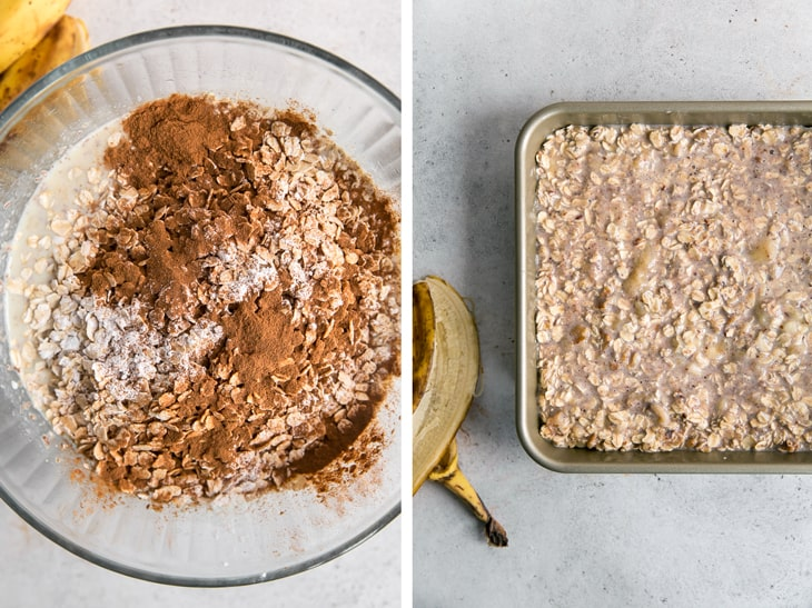 cinnamon and oats in bowl next to banana oatmeal in pan