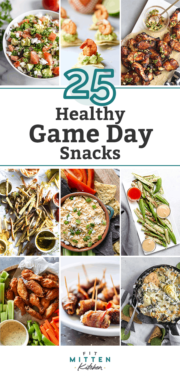 Healthy Game Day Snacks Collage