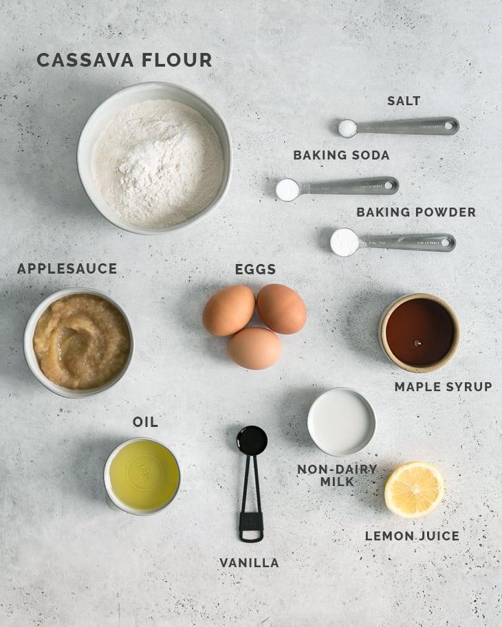 ingredients for cassava flour muffins on board.