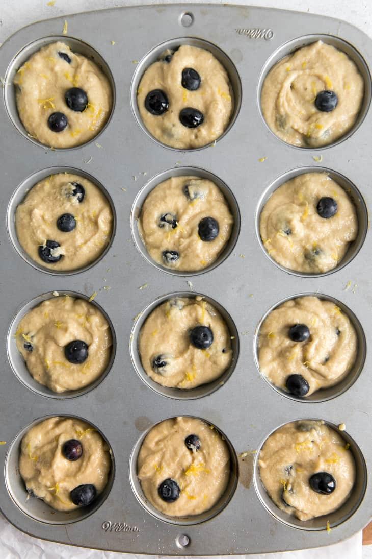 cassava flour muffin batter in muffin pan