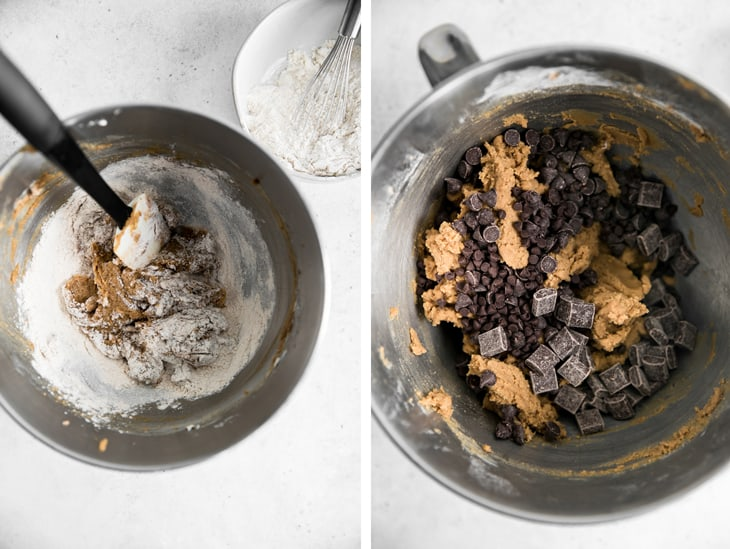 adding flour and chocolate chips to cookie dough bowl