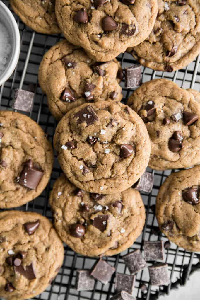 chocolate chip cookies with sea salt cooling on wire rack