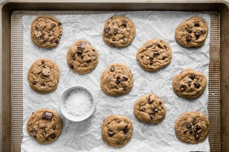 sea salt with baked cookies on sheet