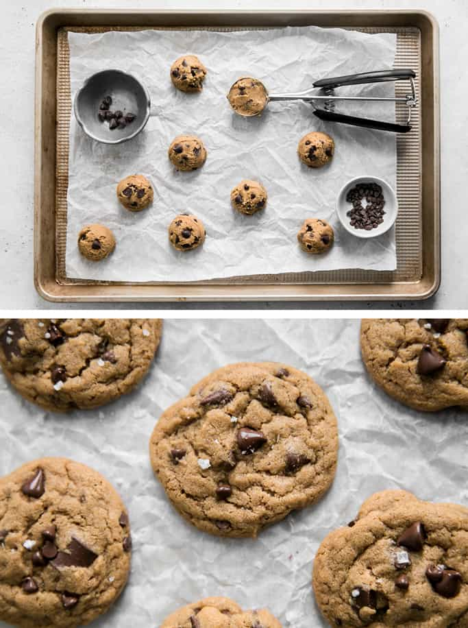 cookie dough spaced on cookie sheet