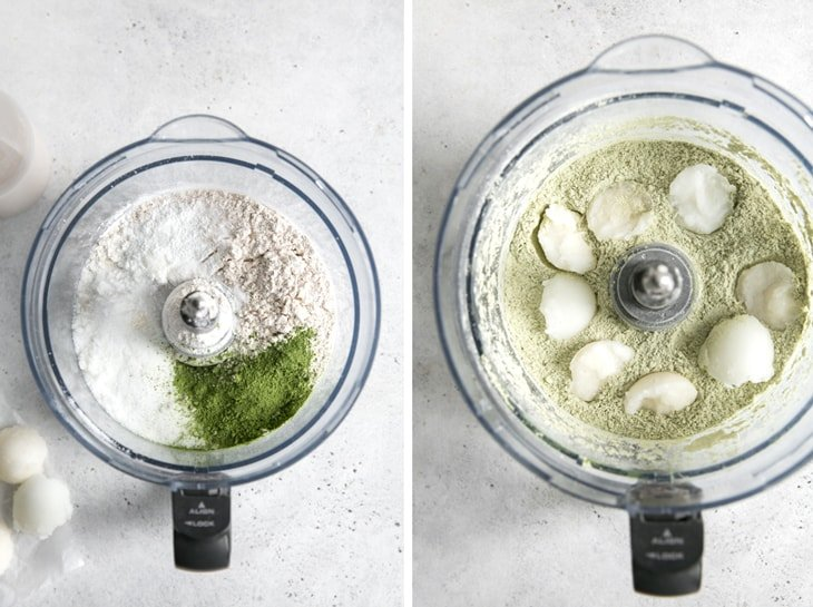 food processor bowls with matcha scone ingredients