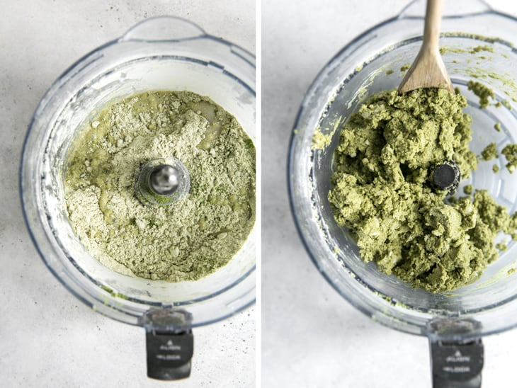 matcha scone dough in food processor bowl