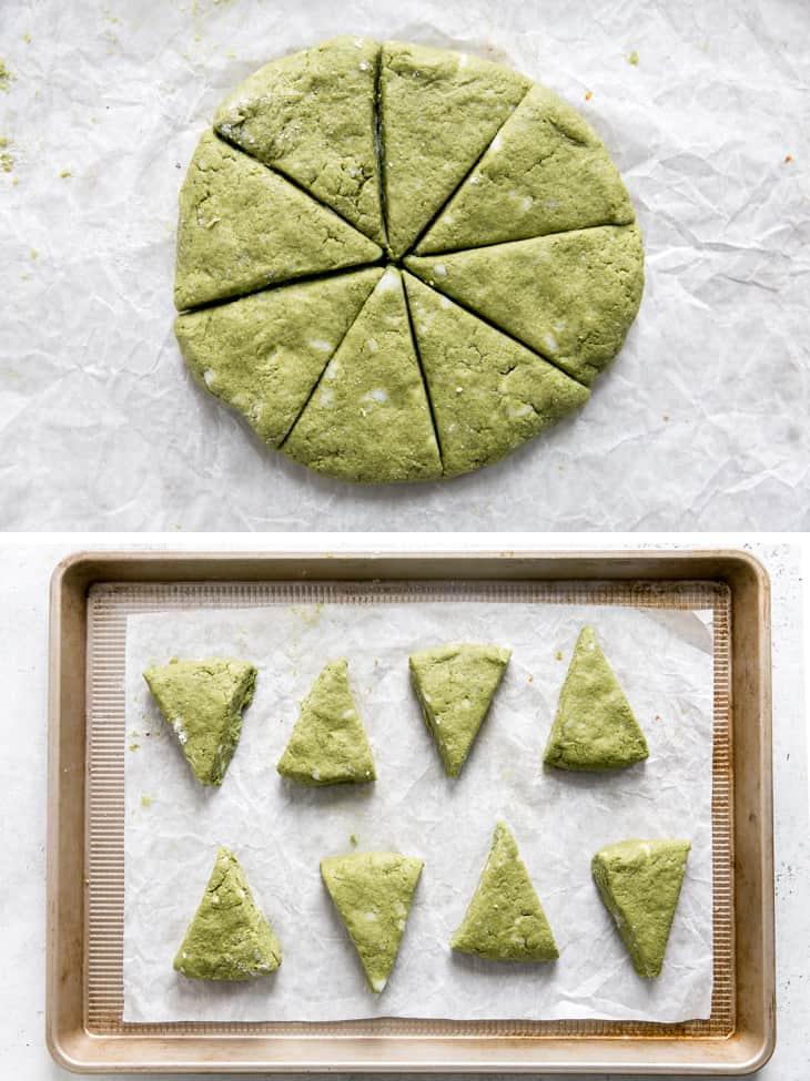 green tea scone dough cut into triangles