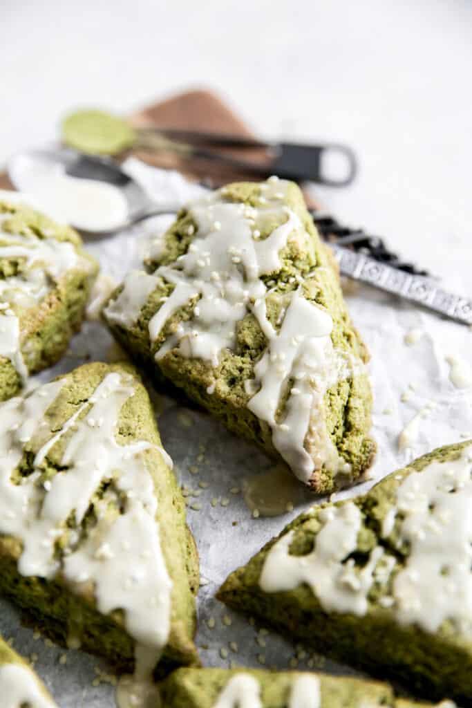 up close image of triangle matcha  green tea scones