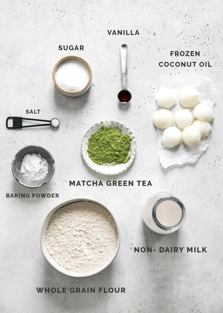 ingredients for matcha scones on gray board