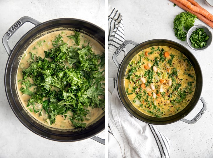 kale in pot and cooked white bean soup