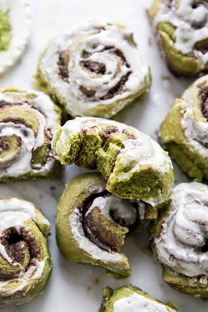green matcha cinnamon rolls with bite
