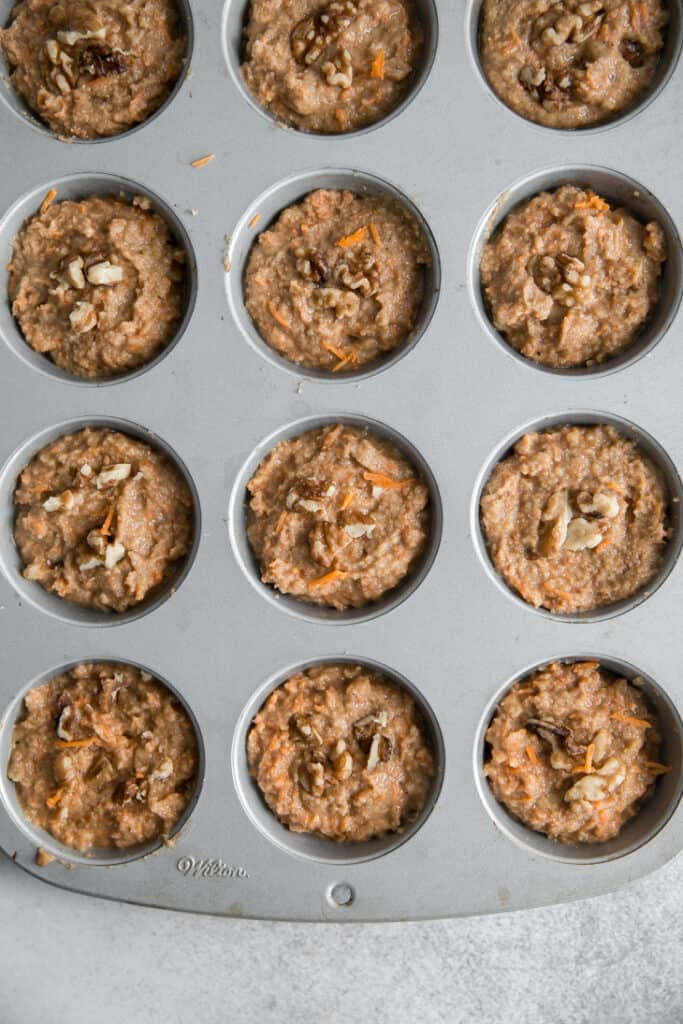 carrot cake muffin batter in pan
