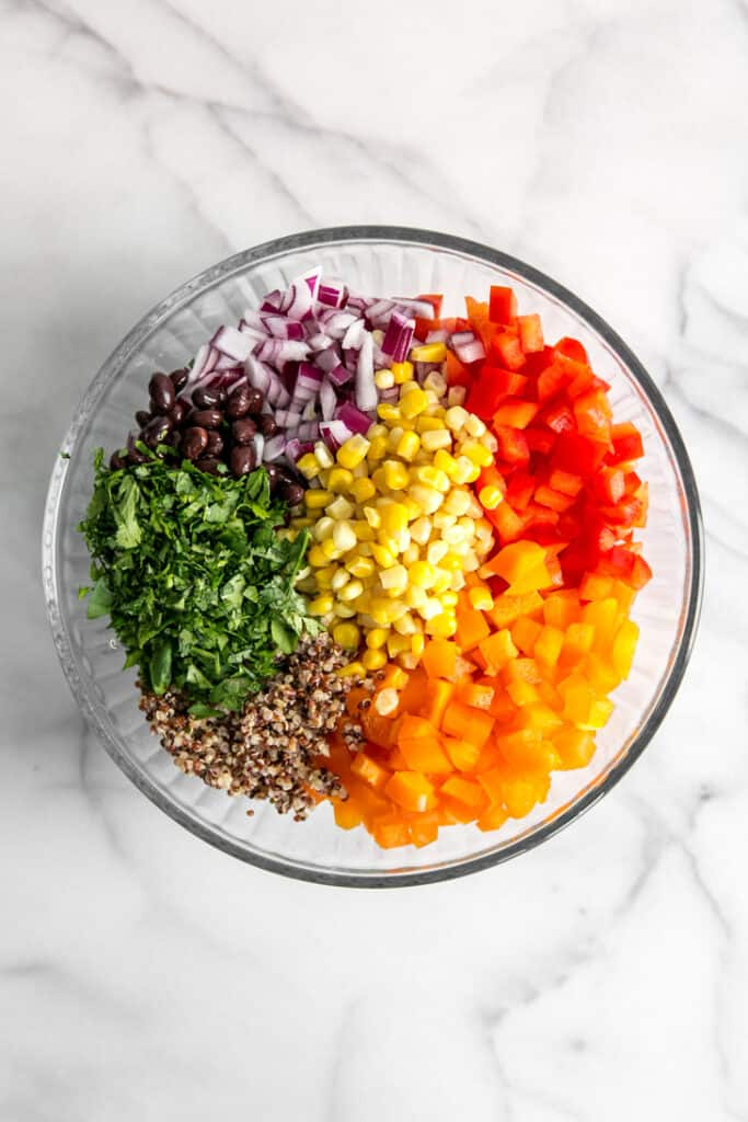 glass bowl with chopped vegetables