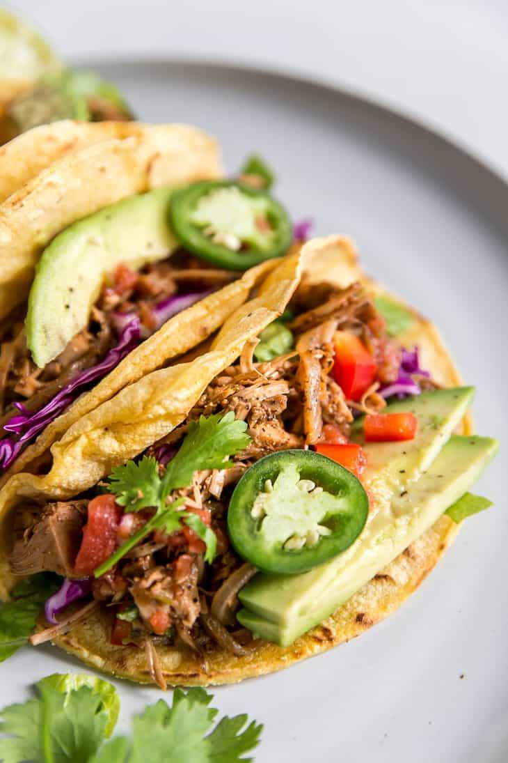 up close image of jackfruit tacos with jalapeno