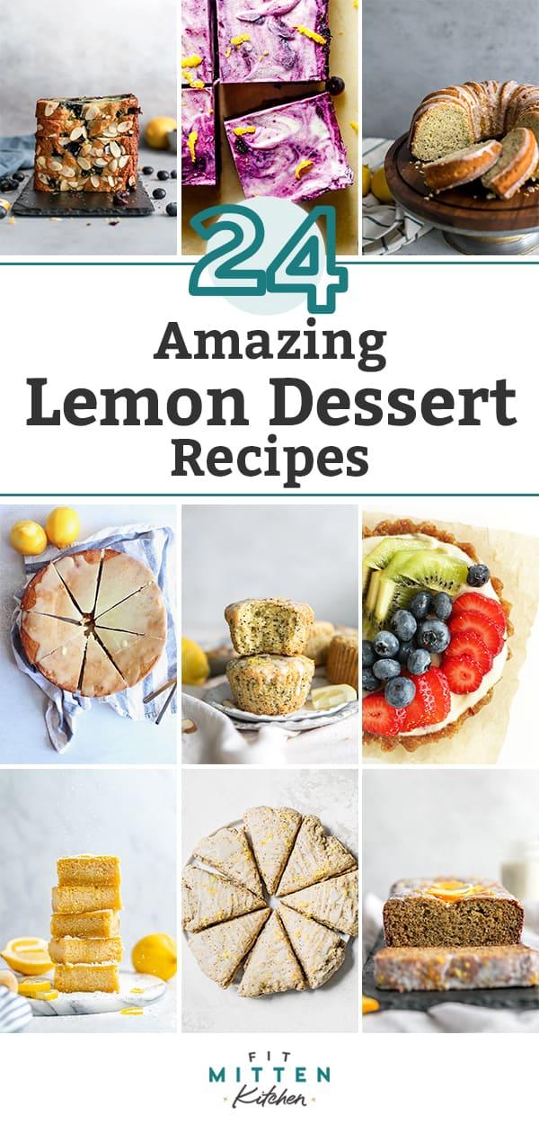 collage of lemon dessert recipes