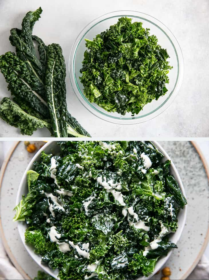 kale being prepared in a bowl