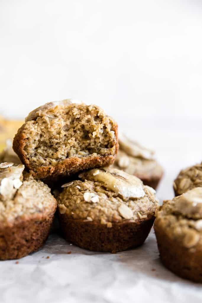 bite of banana oatmeal muffin