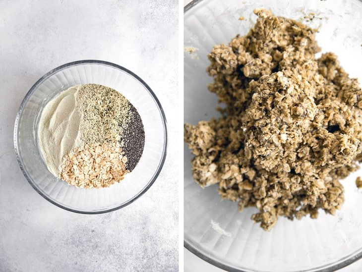 side by side image of oat bar ingredients in glass bowl