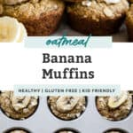 banana muffins for pinterest image