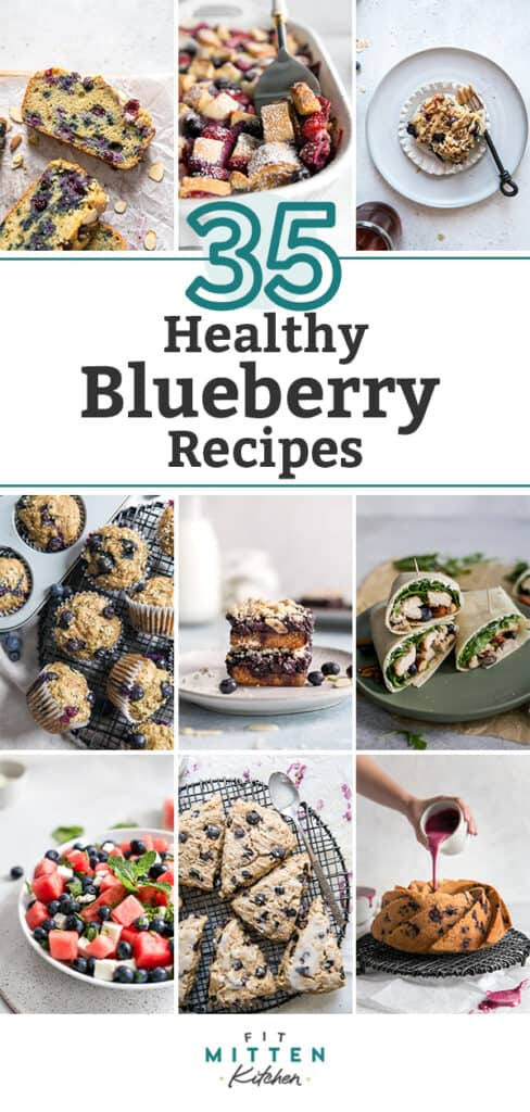pinterest graphic for healthy blueberry recipes