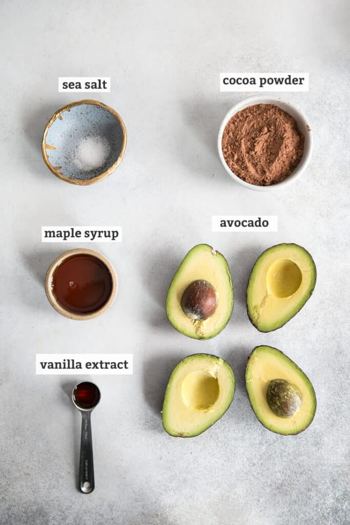 sea salt, cocoa powder, maple syrup, avocados and vanilla extract on gray board, with text labels