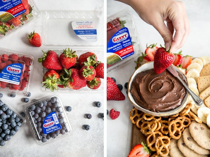 side by side images of cartons of berries next to hand dipping strawberry into chocolate fruit dip on wooden board