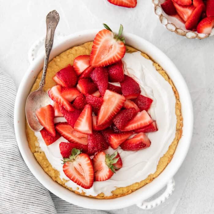 spoon in strawberry shortcake dish