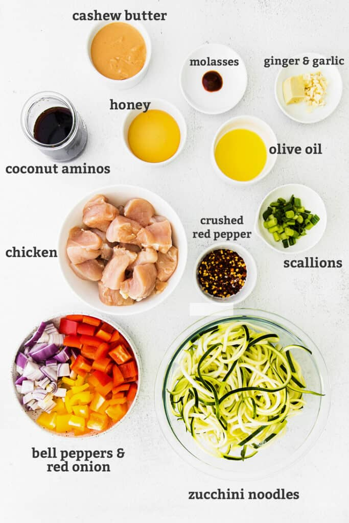 ingredients in bowls with text