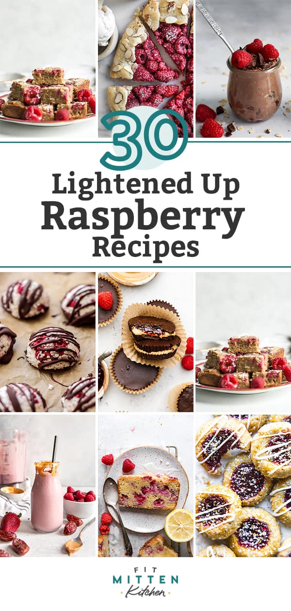 """raspberry recipe roundup graphic, """"30 Lightened Up Raspberry Recipes"""" text in middle"""