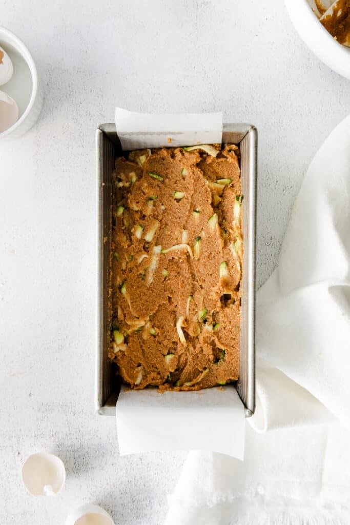 almond flour zucchini bread batter in pan