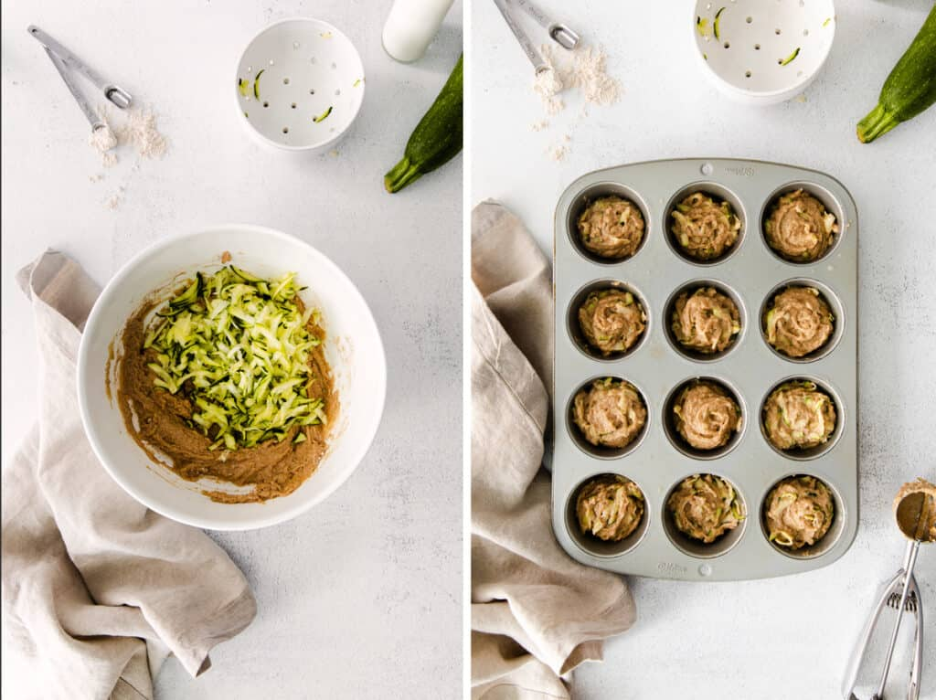 zucchini in batter in mixing bowl next to image of batter in muffin pan