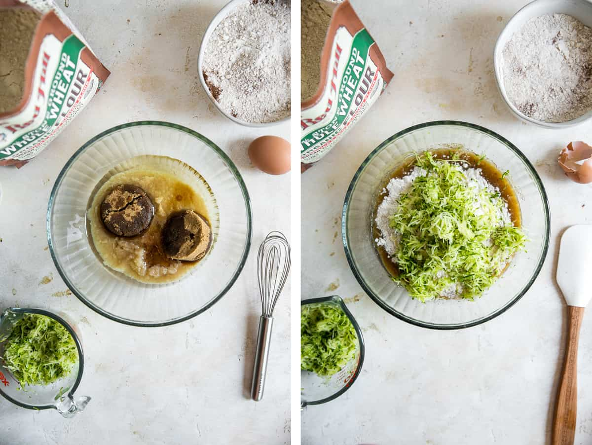 side by side images of mixing bowl in center with flour bag in corner, bowl of flour and shredded zucchini in bottom corner.