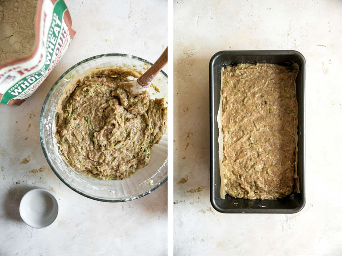 left image; bag of flour in top corner next to zucchini bread batter in mixing bowl. right image; zucchini bread batter in loaf pan