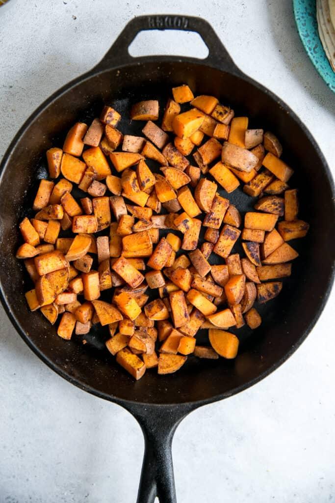 skillet of sweet potatoes