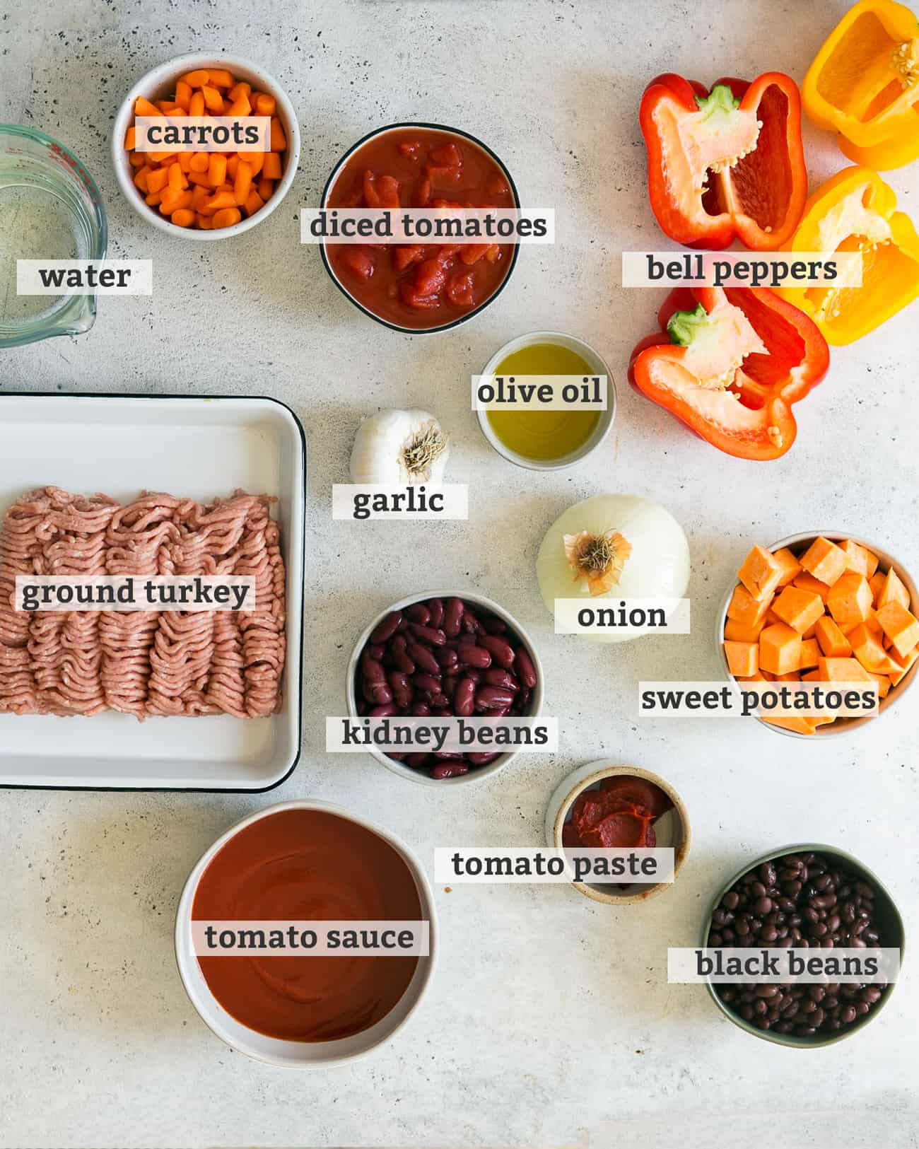 ingredients for healthy turkey hili laid out with text overlay