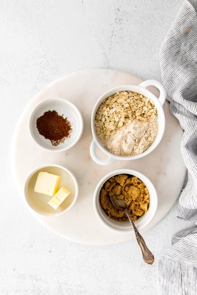 crumble ingredients in bowls